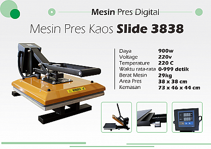 Mesin Press Kaos Slide 38 x 38